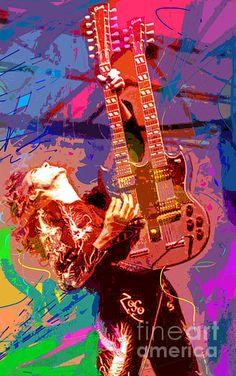 Pop art portrait of Led Zeppelin's Jimmy Page by David Lloyd Glover