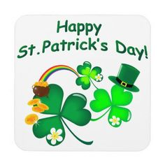 Happy St. Patrick's Day Coaster - st patricks day gifts Saint Patrick's Day Saint Patrick Ireland irish holiday party