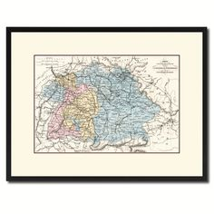 Soutern Germany: Bavaria Wurttemberg Hesse Vintage Antique Map Wall Art Home…