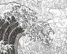 The Great Wave Off Kanagawa (detail) by Sagaki Keita - pen and ink illustrations which are composed of thousands of tinier drawings.