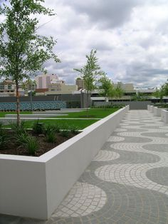 Commercial Landscape Architecture - Modern geometric, patterned style - Pathway to open space interface
