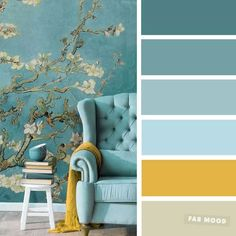 The best living room color schemes - Blue, Turquoise & Mustard - Fabmood | Wedding Colors, Wedding Themes, Wedding color palettes