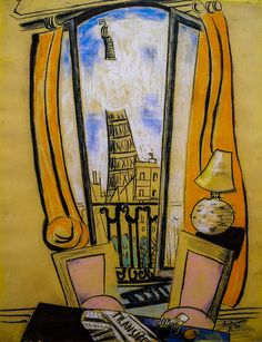 Max Beckmann ~ View from the window of the Eiffel Tower, 1930 (chalk)