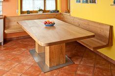 Eckbank mit Tisch aus Kirschbaum Massivholz geölt, Bank frei an der Wand hängend