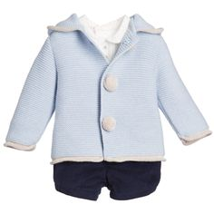 Baby Boys Wool Cardigan, Shirt & Shorts Set , Paz Rodriguez, Boy