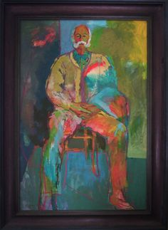 Trevor Jenkins, father of the artist Clive Hicks-Jenkins.  The portrait is by the artist Eugene Fisk.