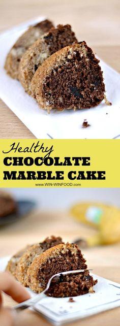 Healthy Chocolate Marble Cake | WIN-WINFOOD.com #healthy #cleaneating #vegan #dairyfree