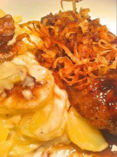 Kalbsleber mit Quitten Balsamico Sauce und Kartoffelgratin