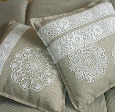 For even more impact, add a few pieces of lacy trim to the cushions. The ethereal effect of using lacy and doilies is wonderful for adding a bit of interest to a sofa or accent chair. Crochet Cushion Cover, Patchwork Cushion, Crochet Cushions, Sewing Pillows, Crochet Pillow, Quilted Pillow, Diy Pillows, Decorative Pillows, Crochet Trim