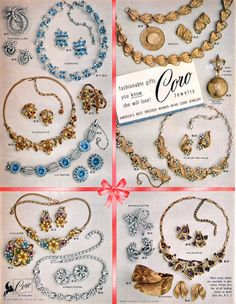 1955 Coro vintage costume rhinestone jewelry ad featuring styles named Daphne - Elegance - La Reine - Marseilles - Birch - Fleur Royale  Honore - Directoire - Sparklette - Valencia - Picardy