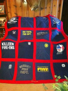 Quilt out of boyfirend's Fire Dept. shirts