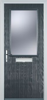 Cottage Half Glazed Composite Front Door in Grey Composite Front Door, Door Detail, External Doors, Glass Texture, Front Doors, Door Handles, Porch, Composition, Cottage