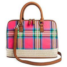 0d2dee0fdf Bueno Women s Jute Canvas Satchel Handbag with Madras Design and Zip  Closure - CUTE