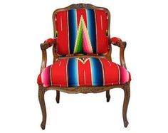 Vintage French Style Arm Chair with Serape Blanket Upholstery- SOLD