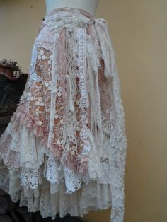 "vintage inspired extra shabby wrap skirt/shawl...a work of art 40"" across plus ties."