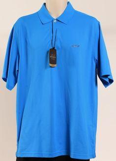 GREG NORMAN SHIRT SHORT SLEEVE SOLID PERF BLUE PARADISE SZ M #GREGNORMAN #PoloRugby