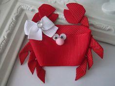 Crab Ribbon Sculpture Hair Clip Crab Hair Clip by creationslove, $3.50