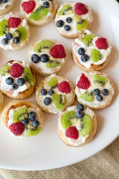 Easy summer tarts - cream cheese/sugar topped with fresh fruit!