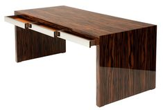 Macassar Ebony Desk with Stainless Steel Leather Lined Drawers with hidden Wiring Track and Pencil Tray.