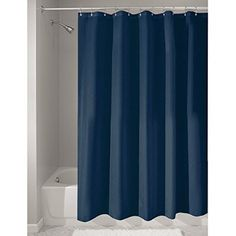 "InterDesign Mildew-Free Water-Repellent Fabric Shower Curtain, Long, 72"" x 84"", Navy"