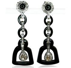 Diamond Whitegold Onyx Earring  Diamant-Weissgold-Onyx Ohrhänger mit 0,681ct Diamanten
