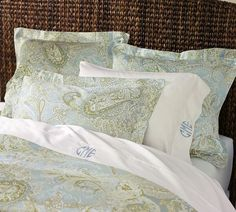 Sienna Paisley Duvet Cover- just came today!! LOVE the monogrammed sheets...I will be getting these soon!