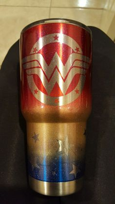 30 oz. Yeti Travel Tumbler with Red, Yellow & Blue Powder-coating | Wonder Woman