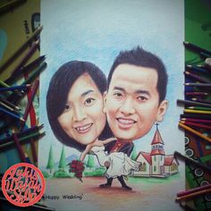 Jasa Karikatur Online | Art caricature Wedding  gift
