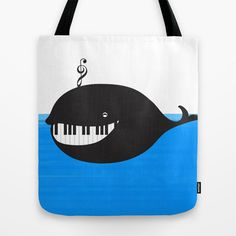 whale++(water+proof+piano!)+Tote+Bag+by+Bananabread+-+$22.00