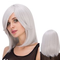 Medium Side Bang Silver White Straight Endearing Women's Cosplay Lolita Synthetic Wig #>=#>=#>=#>=#> Click on the pin to check out discount price, color, size, shipping, etc. Save and like it!