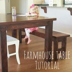 Let me start out by saying I have an amazing father-in-law. He built our new dining room table and bench with his own plans. We discussed what type of table my… Wooden Table Top, Wooden Dining Tables, Timber Shelves, Light Up Canvas, Farmhouse Table Plans, Diy Projects For Men, Diy Bed, Design, Bedtime