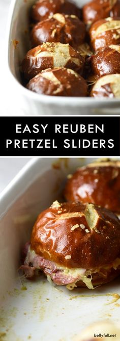 Reuben Pretzel Sliders combine all the classic Reuben goodies onto small pretzel rolls, with a killer sauce that coats the buns as they bake. Great crowd pleaser for parties or an easy weeknight dinne (Sandwich Recipes For Party) Soup And Sandwich, Sandwich Recipes, Appetizer Recipes, Pretzel Bread Sandwich, Pretzel Recipes, Reuben Sandwich, Game Day Appetizers, Ideas Sándwich, Slider Sandwiches