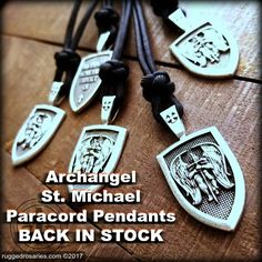 """Archangel Saint Michael Protect Us"" Paracord Pendants. #Catholic #Gifts #SaintMichael #archangel #paracord #warriorofGod #armor #pray #StMichael #GodsArmy #mensgifts #Christmas #EDC #Today #handmade"