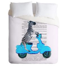 Coco de Paris Zebra On Blue Vespa Duvet Cover | DENY Designs Home Accessories