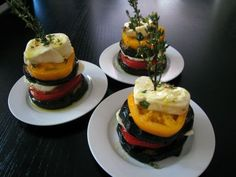 Eggplant, Heirloom Tomato, and Buffalo Mozzarella Stacks