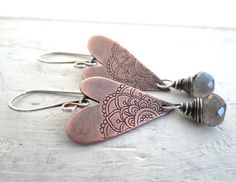 Rustic Romance // etched copper hearts with by LostSparrowJewelry, $27.00