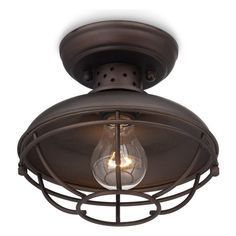 """Franklin Iron Works - Country - Cottage Franklin Park Vintage Metal Cage 8 1/2"""" Wide Ceiling Light - Use this flushmount ceiling light anywh..."""