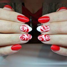 #paznokcie #nails #manicure #gelnails #mintyclaw #nailac @nailacuv #instanails #sharmeffect #roses #wetonwet