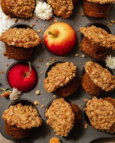 An overhead shot of baked vegan apple crisp muffins set upright in a muffin tin with apples in some of the muffin cups. Healthy Muffin Recipes, Vegan Recipes, Fall Recipes, Vegan Apple Crisp, Thing 1, Morning Food, Vegan Butter, No Bake Desserts, Vegan Desserts