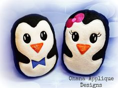 Girl and Boy Penguins Stuffie In The Hoop Designs Machine Embroidery Designs