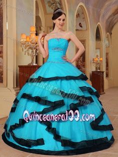 Unique Strapless Beading Blue Dress for Sweet 15 Organza Hot Sale