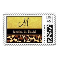 Gold and Black Leopard Print Monogram Wedding Postage Stamps #jaclinart #gold #EarthTones #Wedding #Invites #Stickers #stamps #WeddingItems #brown