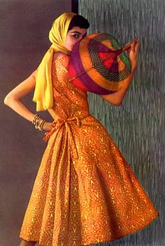 Sizzling summer hues from Givenchy, 1950s. #vintage #orange #dresses