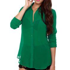 Sheer green top