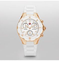 Tahitian Jelly Bean Large White Rose Gold Tone  Tahitian Jelly Beans by Michele feature a dose of playful luxury in an irresistible range of colors. With a chronograph movement and a sporty strap and bezel, these timepieces are as undeniably fun as they are luxurious.