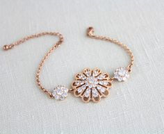 Rose Gold bracelet Wedding jewelry Rose Gold Bridal