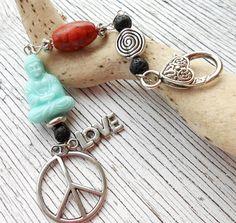 Taschenanhänger - Wechselanhänger ♥Buddha♥ Peace ♥Love♥ - ein Designerstück von moschita bei DaWanda