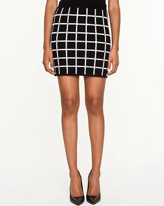Knit Check Mini Skirt - A body-hugging knit skirt is defined by a high definition check print. Check Mini Skirt, Knit Skirt, Mini Skirts, Knitting, Women, Style, Fashion, Swag, Moda