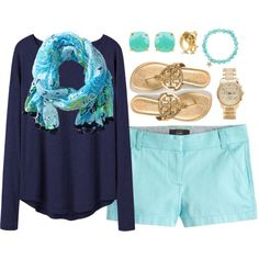 Under the Sea by lauren-penelope on Polyvore featuring Organic by John Patrick, J.Crew, Tory Burch, Michael Kors, Sydney Evan and Lilly Pulitzer