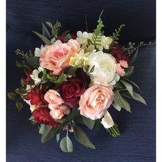 Wedding bouquet,Burgundy Blush Bridal bouquet,Silk Wedding... ❤ liked on Polyvore featuring home, home decor, floral decor, fake silk flowers, fake flowers, flower bouquet, petals silk flowers and fake flower arrangement